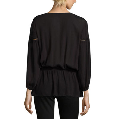 A.N.A 3/4 Sleeve V Neck Peasant Top - Tall