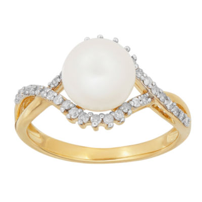 Sofia Womens 1/5 CT. T.W. Genuine White Cultured Freshwater Pearl 10K Gold Cocktail Ring