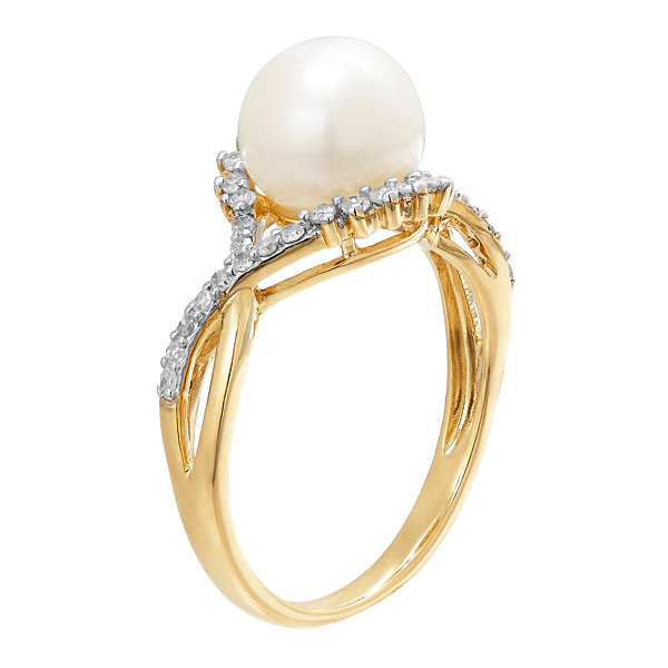 Womens 1/5 CT. T.W. White Pearl 10K Gold Cocktail Ring