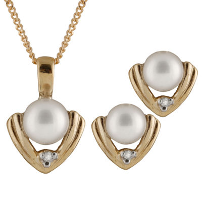 Diamond Accent Cultured Akoya Pearl 14K Gold Round 2-pc. Jewelry Set