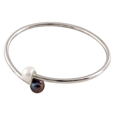 Splendid Pearls Womens Pearl Sterling Silver Bangle Bracelet