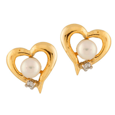 Splendid Pearls Diamond Accent CULTURED FRESHWATER PEARLS 14K Gold 10mm Round Stud Earrings