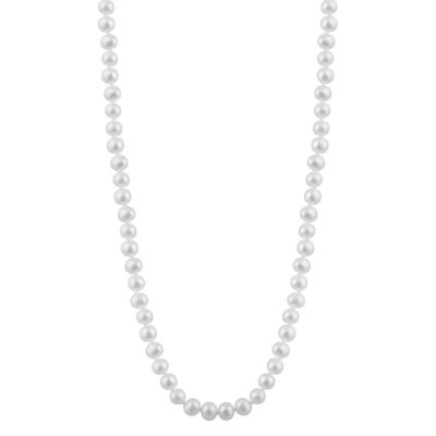 Splendid Pearls Womens 6MM White Cultured Freshwater Pearl 14K Gold Strand Necklace