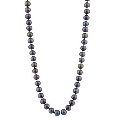 Splendid Pearls Womens 6MM Black Cultured Freshwater Pearls Strand Necklace