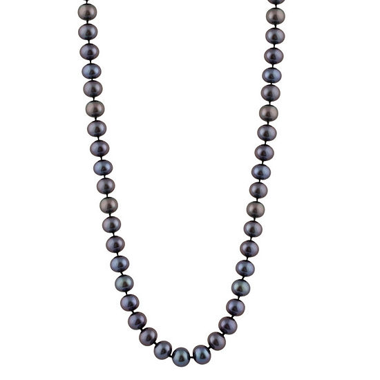 Splendid Pearls Womens 6MM Black Cultured Freshwater Pearl 14K Gold Strand Necklace