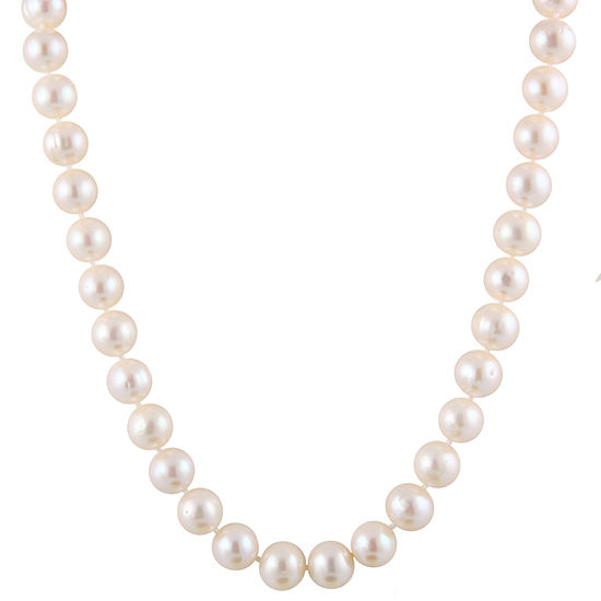 Splendid Pearls Womens 10MM White Cultured Freshwater Pearl 14K Gold Strand Necklace