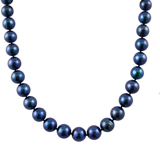 Splendid Pearls Womens Blue Pearl 14K Gold Strand Necklace
