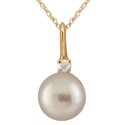 Splendid Pearls Womens Diamond Accent White Cultured Akoya Pearl 14K Gold Pendant Necklace