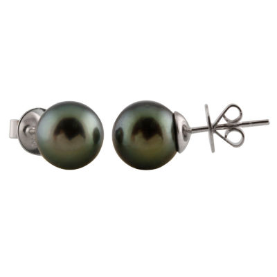 Splendid Pearls CULTURED TAHITIAN PEARLS 14K Gold 10mm Stud Earrings