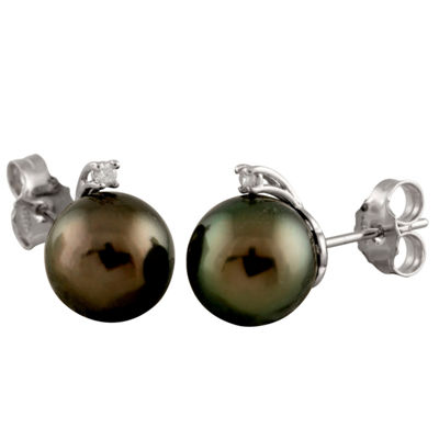 Splendid Pearls Diamond Accent White Cultured Tahitian Pearl 14K Gold 12mm Stud Earrings