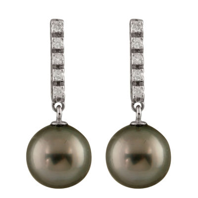 Splendid Pearls 1/5 CT. T.W. White Cultured Tahitian Pearl 14K Gold Drop Earrings