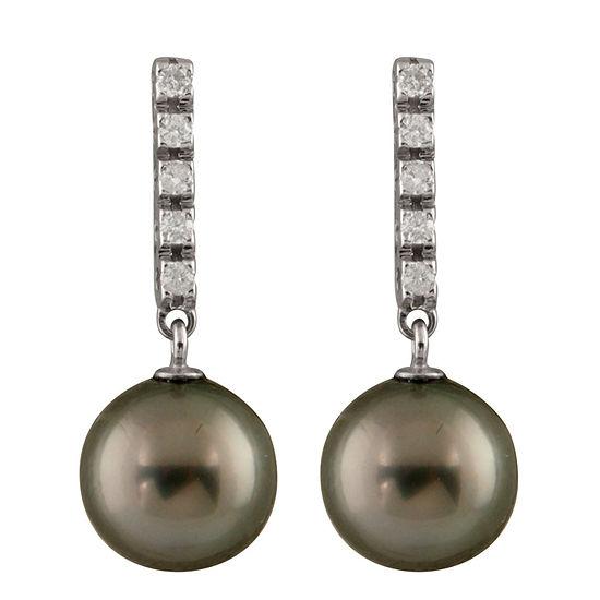 Splendid Pearls 1/5 CT. T.W. White Cultured Tahitian 14K Gold Drop Earrings
