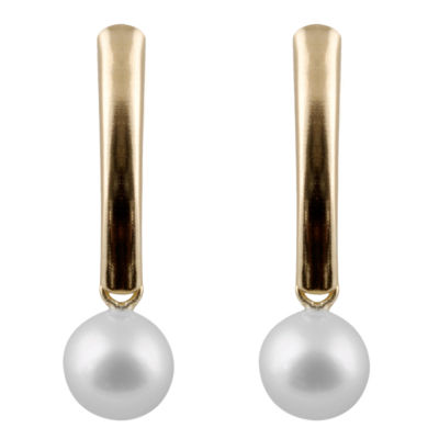 Splendid Pearls CULTURED AKOYA PEARLS 14K Gold Drop Earrings