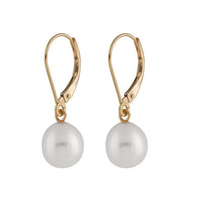 Splendid Pearls CULTURED FRESHWATER PEARLS 14K Gold Drop Earrings