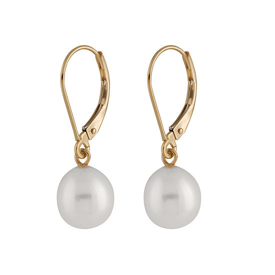 Splendid Pearls Cultured Freshwater 14K Gold Drop Earrings