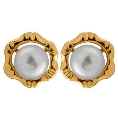 Splendid Pearls Cultured Freshwater Pearl 14K Gold 8.5mm Stud Earrings