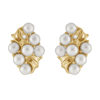Splendid Pearls Diamond Accent White CULTURED FRESHWATER PEARLS 14K Gold 15mm Stud Earrings