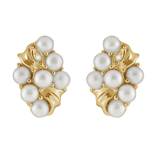 Splendid Pearls Diamond Accent White Cultured Freshwater 14K Gold 15mm Stud Earrings