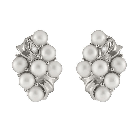 Splendid Pearls Diamond Accent White Cultured Freshwater 14K Gold 15mm Stud Earrings