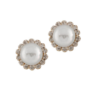Splendid Pearls 1/4 CT. T.W. White CULTURED FRESHWATER PEARLS 14K Gold 10mm Stud Earrings