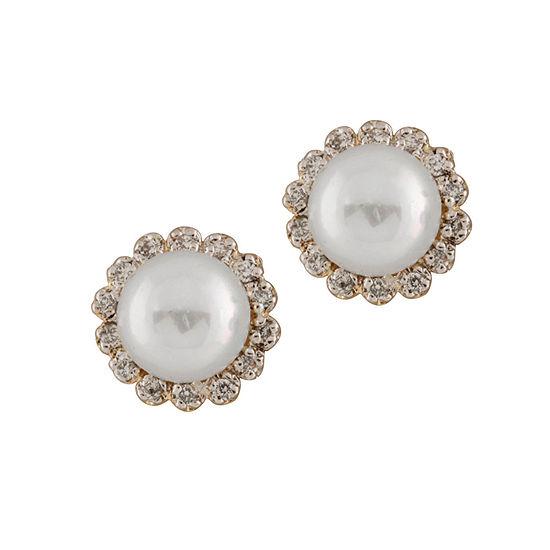 Splendid Pearls 1/4 CT. T.W. White Cultured Freshwater 14K Gold 10mm Stud Earrings