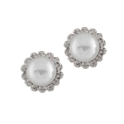 Splendid Pearls 1/4 CT. T.W. White Cultured Freshwater Pearl 14K Gold 10mm Stud Earrings