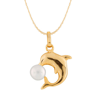 Splendid Pearls Womens Cultured Freshwater Pearl 14K Gold Pendant Necklace