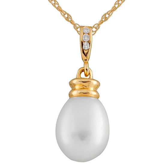 Splendid Pearls Womens Diamond Accent White Cultured Freshwater Pearl 14K Gold Pendant Necklace
