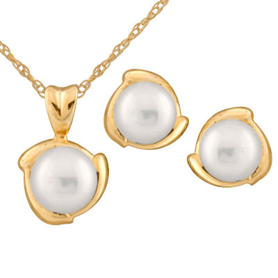 Splendid Pearls Womens 2-pack 14K Gold Jewelry Set