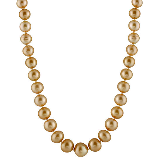 Splendid Pearls Womens 10mm Cultured South Sea Pearl 14k Gold Strand Necklace
