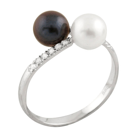 Splendid Pearls Womens Diamond Accent 6MM White Cultured Akoya Pearl 14K Gold Cocktail Ring