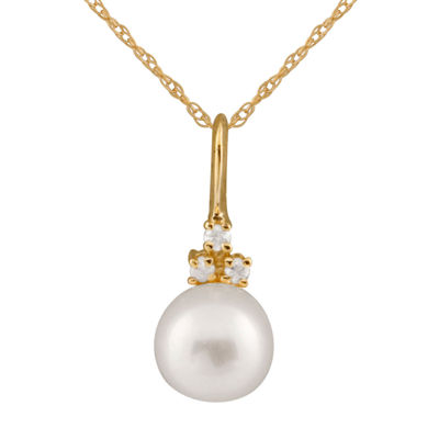 Splendid Pearls Womens Diamond Accent White Pearl 14K Gold Pendant Necklace