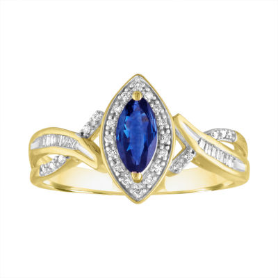 Womens Genuine Blue Sapphire 10K Gold Cocktail Ring