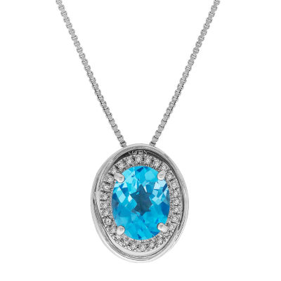 Womens 1/7 CT. T.W. Blue Topaz Sterling Silver Pendant Necklace