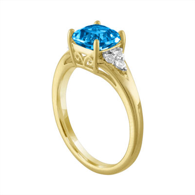Womens Genuine Blue Blue Topaz 14K Gold Over Silver Cocktail Ring