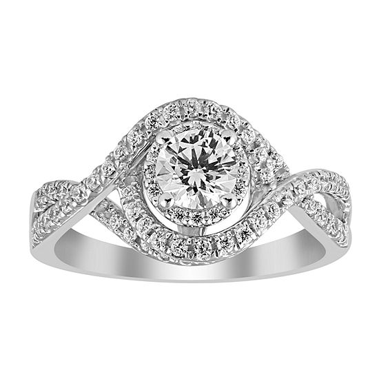 Womens 1 Ct Tw Genuine White Diamond 14k White Gold Engagement Ring