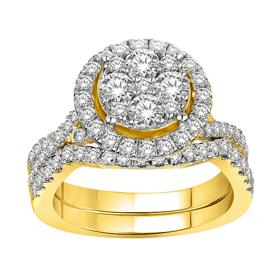 Womens 1 1/2 CT. T.W. Genuine White Diamond 14K Gold Bridal Set