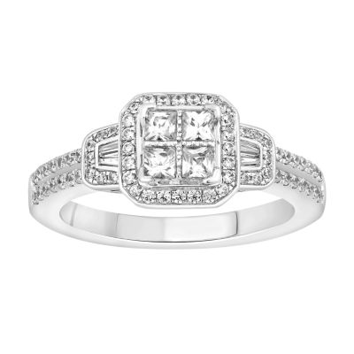 Womens 3/4 CT. T.W. Genuine White Diamond 14K White Gold Engagement Ring