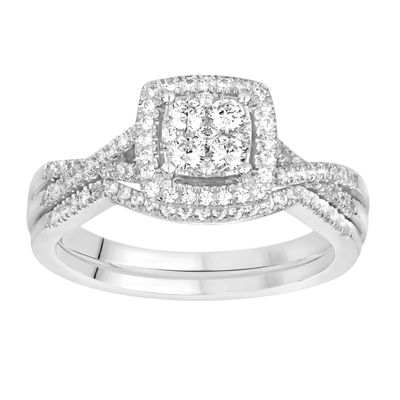 Womens 1/2 CT. T.W. Genuine White Diamond 10K White Gold Bridal Set