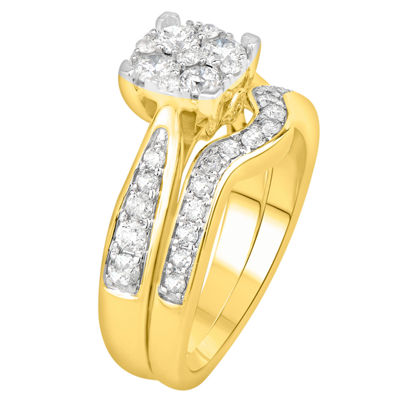 Womens 2 CT. T.W. Genuine White Diamond 14K Gold Bridal Set