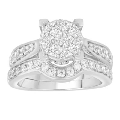 Womens 1 1/2 CT. T.W. Genuine White Diamond 14K White Gold Bridal Set