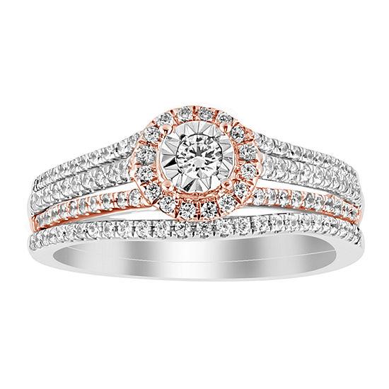 Womens 1/2 CT. T.W. Genuine White Diamond 14K White & Rose Gold Bridal Set