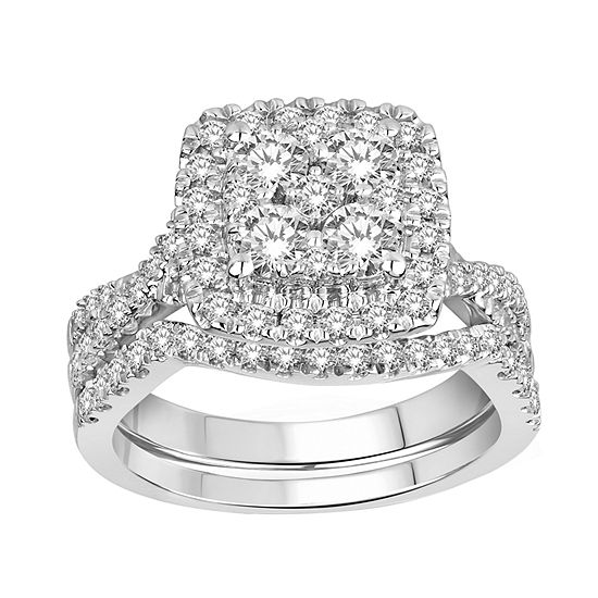 Womens 1 1/2 CT. T.W. Genuine White Diamond 14K White Gold Bridal Set