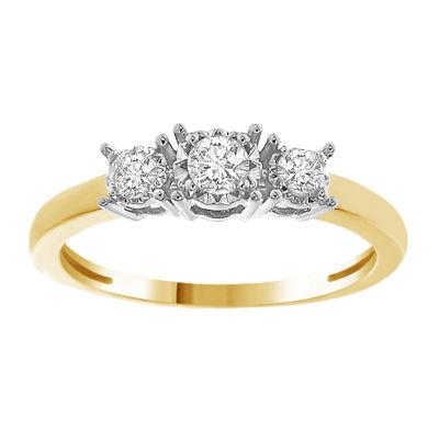 Womens 1/4 CT. T.W. Genuine White Diamond 10K Gold 3-Stone Ring