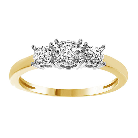 Womens 1/4 CT. T.W. Genuine White Diamond 10K Gold 3-Stone Engagement Ring