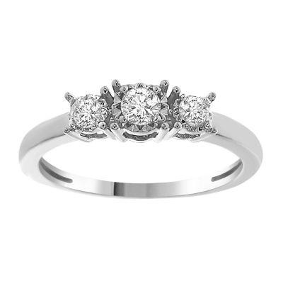 Womens 1/4 CT. T.W. Genuine White Diamond 10K White Gold 3-Stone Ring