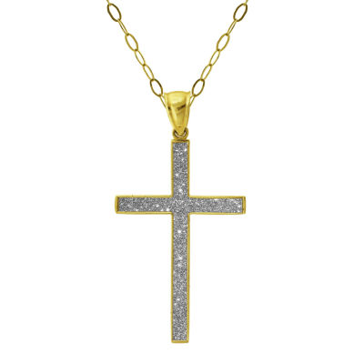 Womens 14K Gold Cross Pendant Necklace
