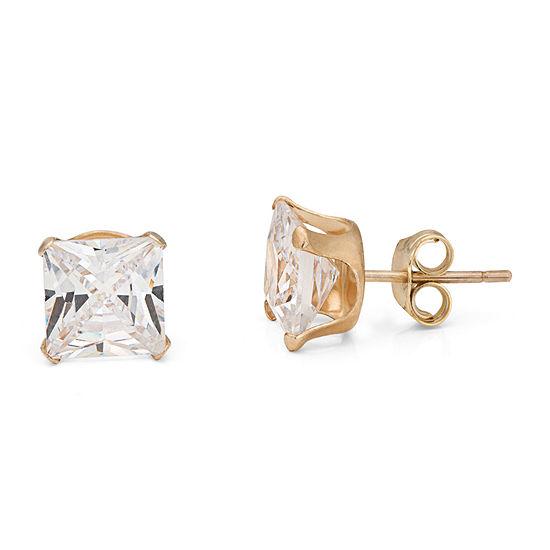10k Gold 6mm Princess Cut Cubic Zirconia Stud Earrings