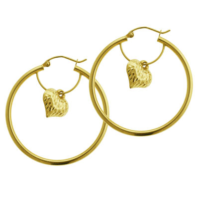 14K Gold 35mm Heart Hoop Earrings