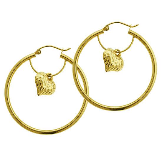 14K Gold 35mm Heart Hoop Earrings